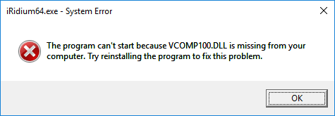 Canot start because VComp100.dll is missing / Archive: i3 pro
